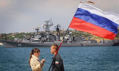 The Russian destroyer Smetlivy, seen in the background in 2008